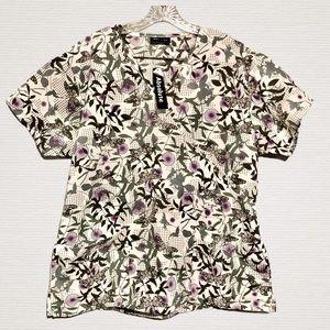 Scrub Top Womens XL Butterflies Gray Purple New